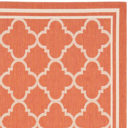 Safavieh Courtyard Terracotta / Bone Outdoor Rug