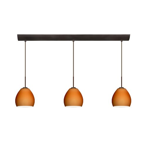 Bolla 3 Light Mini Pendant with Bar Canopy