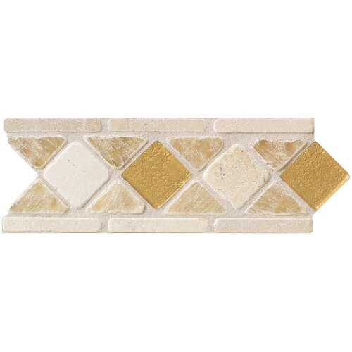 "Mohawk Flooring Artistic Accent Statements 10"" x 3-1/2"" Diamond Decorative Border in Onyx/Glass"