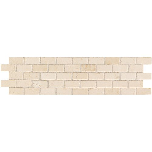Mohawk Flooring Artistic Accent Statements  Brick-Joint Mosaic Decorative Border in Crema Marfil