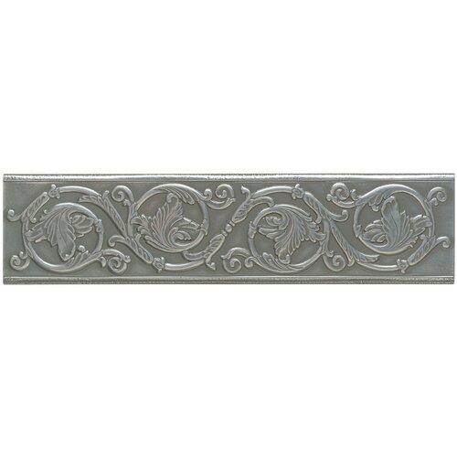 "Mohawk Flooring Artistic Accent Statements Metal 12"" x 3"" Scrolling Leaf Decorative Border in Vintage Pewter"