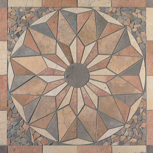 "Mohawk Flooring Slate Quarry Stone 34"" x 34"" Decorative Medallion"
