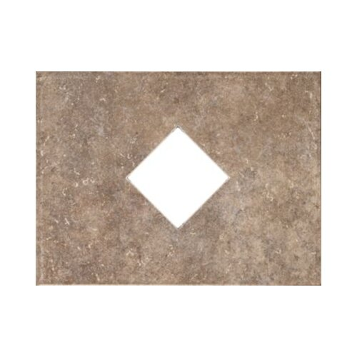 """Mohawk Flooring Natural Bella Rocca 12"""" x 9"""" Decorative Diamond Cut-Out Tile in Tuscan Brown"""