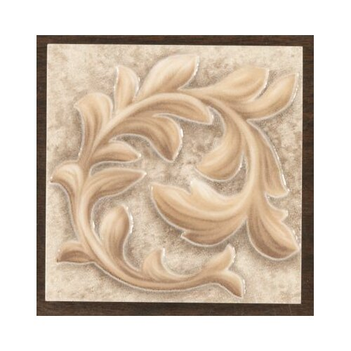 "Mohawk Flooring Natural Primabella 4"" x 4"" Cascading Leaves Decorative Corner Tile in Latte"