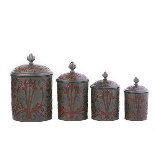 4 nouveau decorative canister set