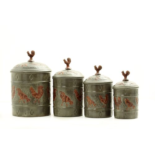 Old dutch rooster 4 piece fresh canister set reviews for Kitchen set for 4 year olds