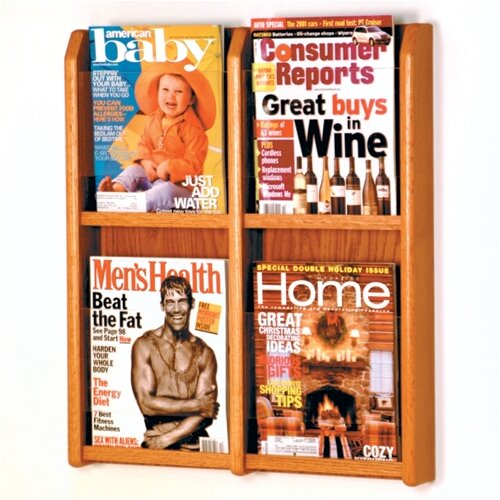 Wooden Mallet 4 Pocket Magazine Wall Display
