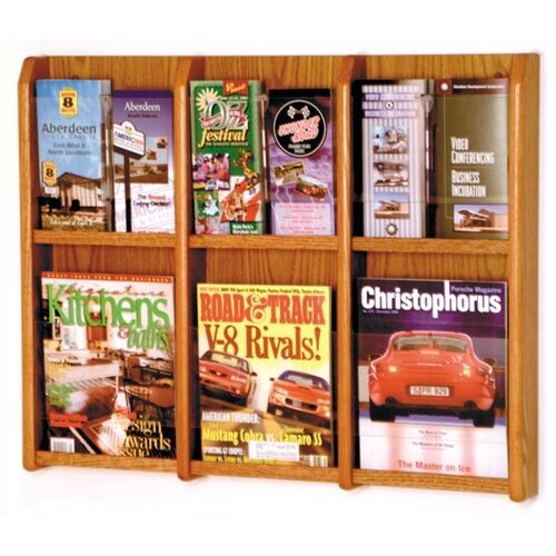 Wooden Mallet 6 Pocket Magazine / 12 Pocket Brochure Wall Display