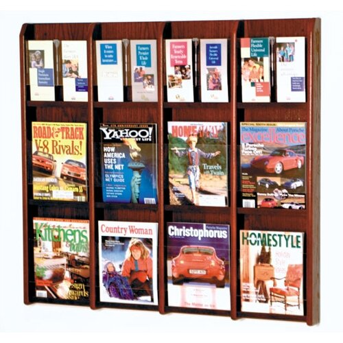 Wooden Mallet 12 Pocket Magazine / 24 Pocket Brochure Wall Display