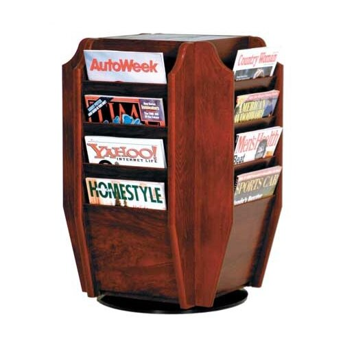 Wooden Mallet Countertop 16 Pocket Magazine Rotary Display