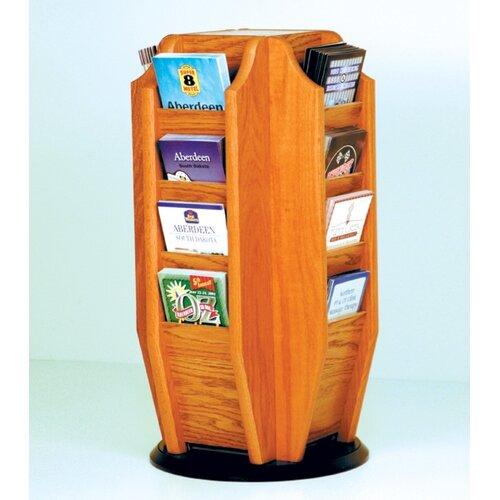 Wooden Mallet Countertop 16 Pocket Brochure Rotary Display