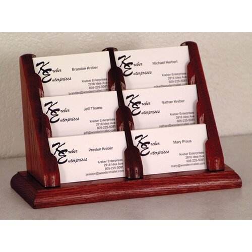 Wooden Mallet Six Pocket Counter Top Business Card Holder