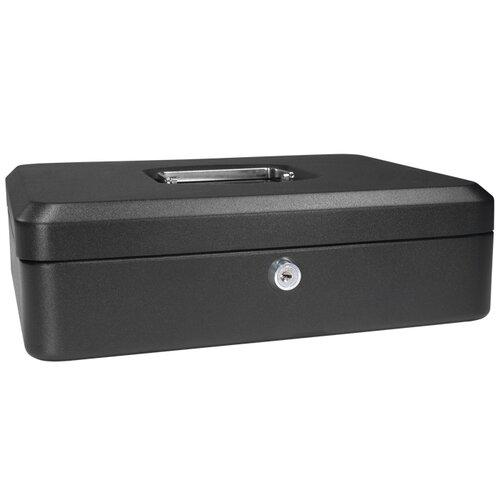 Large Black Cash Box with Key Lock
