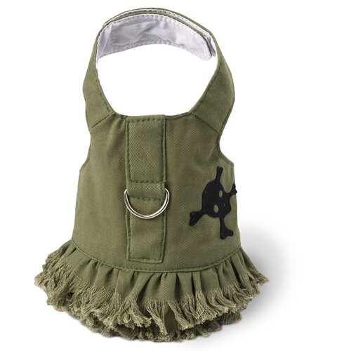 Dog Boutique Green Fringe and Skull Harness