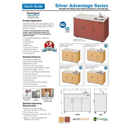 "Ozark River Portable Sinks Silver Advantage 48"" x 24"" Deep Basin Single Bowl Portable Handwash Station with Storage Cabinet"