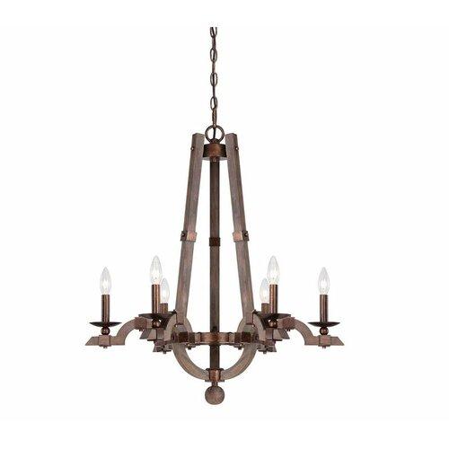 Berwick 6 Light Wood Candle Chandelier