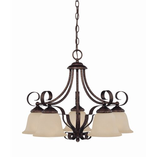 Wildon Home ® 5 Light New Tortoise Shell Chandelier