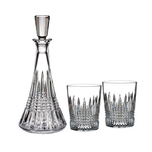 Waterford 3 Piece Lismore Diamond Decanter And Double Old Fashioned Glass Set