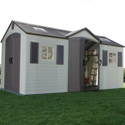 Lifetime dual entry 7 5 ft w x 14 5 ft d steel and for Garden shed 7 x 5