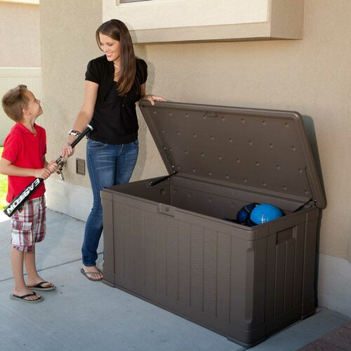 116 Gallon Wood Grained Storage Deck Box