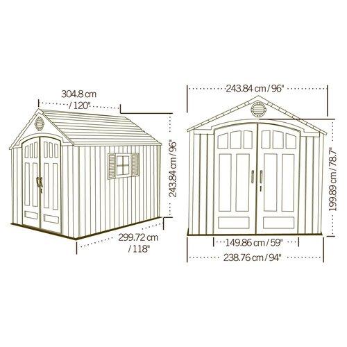 Lifetime Premium 7.5ft. W x 9.5ft. D Plastic Garden Shed