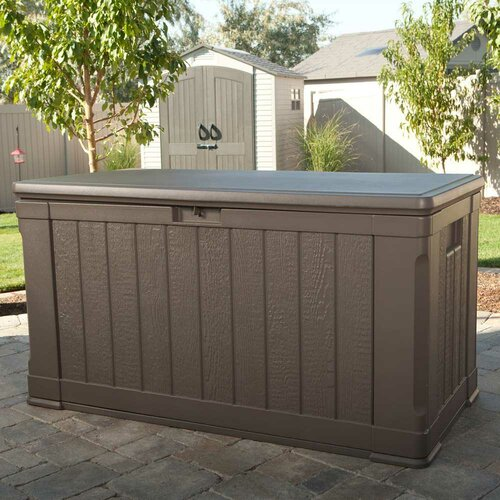 lifetime 116 gallon plastic deck storage box reviews. Black Bedroom Furniture Sets. Home Design Ideas