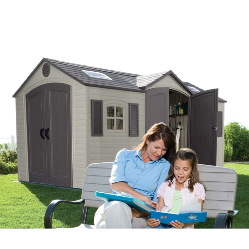 Lifetime Dual Entry 7.5ft. W x 14.5ft. D Steel and Plastic Garden Shed