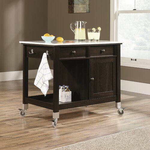 Kitchen Island With Marble Top: Miscellaneous Storage Kitchen Island With Faux Carrara
