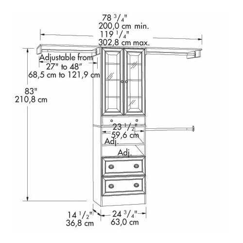 "Sauder Lancaster 14.5"" Deep Closet Box Storage Cabinet"