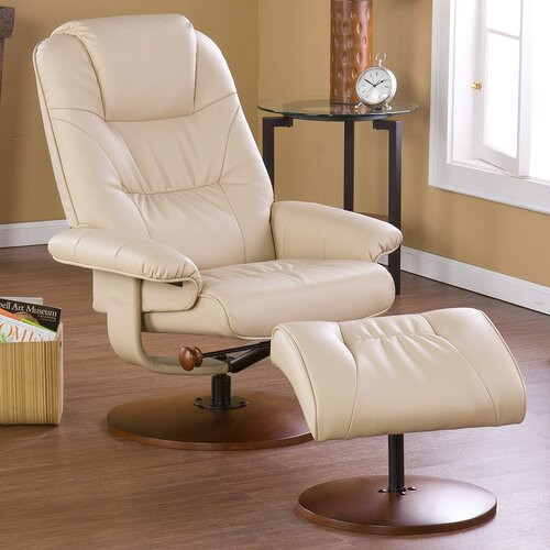 Wildon Home ® Urban Leather Ergonomic Recliner and Ottoman
