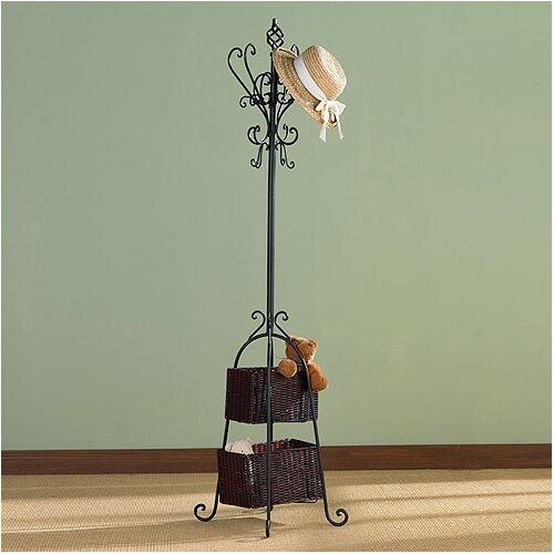 Wildon Home ® Arden Coat Rack with Rattan Storage