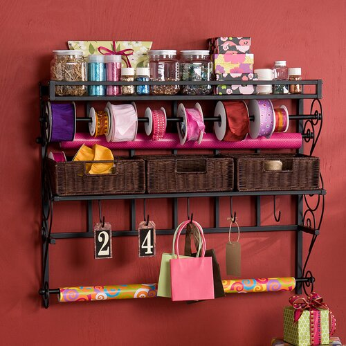 Wildon Home ® Lynbar Wall Mount Craft Large Storage Rack with Baskets