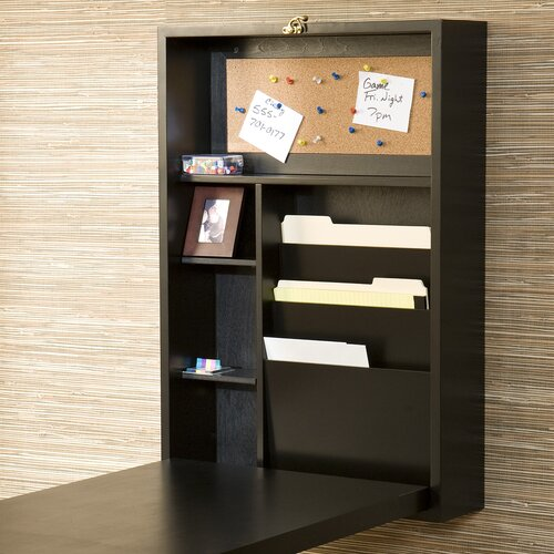 Wildon Home ® Blackpool Fold-Out Convertible Writing Desk in black