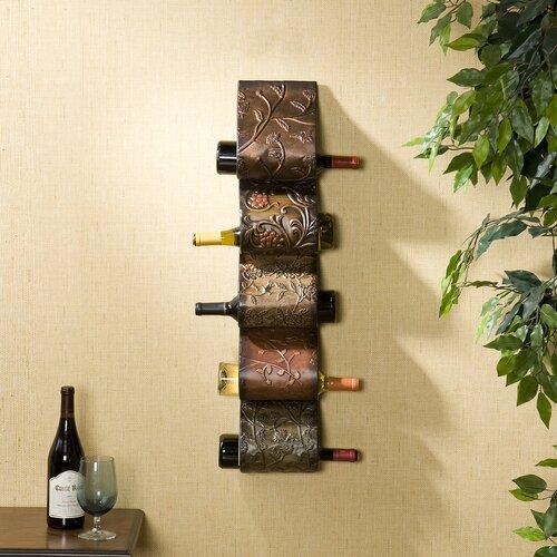 Blitz Sculpture 5 Bottle Wall Mounted Wine Rack