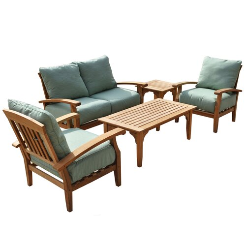 Wildon Home ® McGrath Outdoor Sofa 5 Piece Bench Seating Group with Cushion