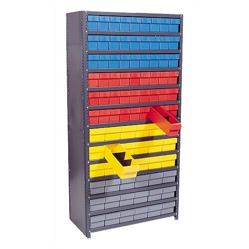 "Quantum Storage Closed Shelving Storage System with Euro Drawers (75"" H x 36"" W x 12"" D)"