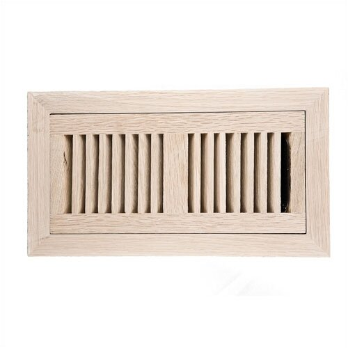 "Image Wood Vents 4"" x 10"" White Oak Flush Mount Vent Cover with Damper"