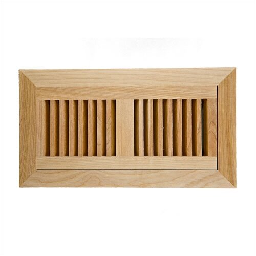 """Image Wood Vents 4"""" x 10"""" Red Birch Flush Mount Wood Vent Cover with Frame and Metal Damper"""