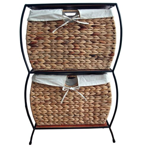 Pangaea Home and Garden Seagrass Pangaea Rattan 2 Drawer Basket Storage File Cabinet