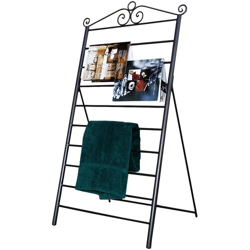 Pangaea Home and Garden Swirl Blanket/Magazine/Towel Rack in Black