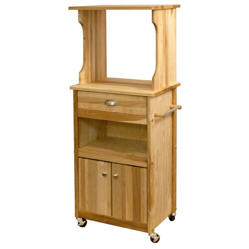 Microwave Cart with Butcher Block Top and Open/Enclosed Storage
