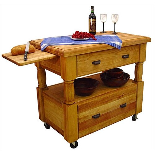 Island Europa Kitchen Cart with Butcher Block Top