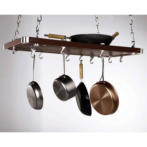 Rectangular Wood Hanging Pot Rack