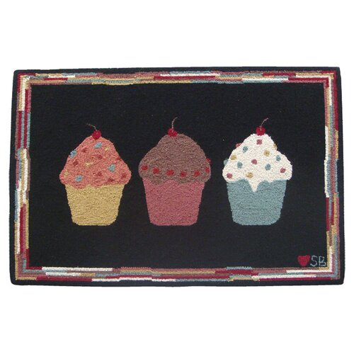 Susan Branch Home Cupcakes: 2' x 3' -  Black Rug