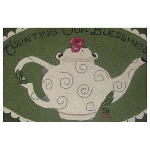 "Susan Branch Home Counting Our Blessings Oval: 2'6"" x 4' - Green Rug"