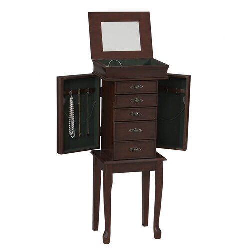 Linon Quartz Jewelry Armoire with Mirror