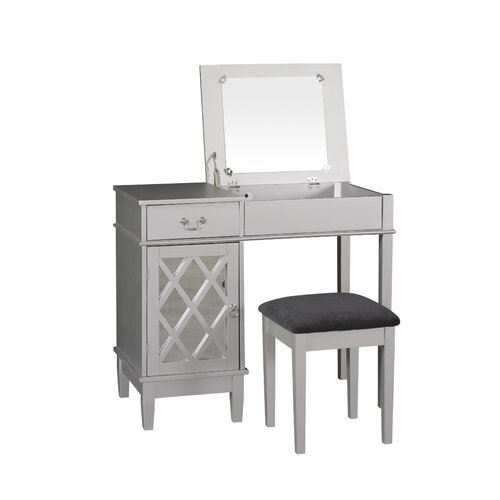 Linon Lattice Vanity Set With Mirror Reviews Wayfair