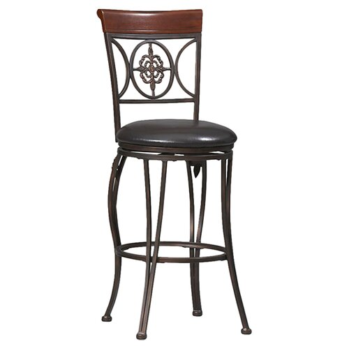 "Linon Antique 30"" Fleur De Lis Bar Stool with Cushion"