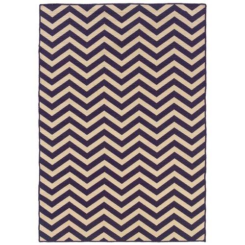 Linon Salonika Purple Chevron Rug