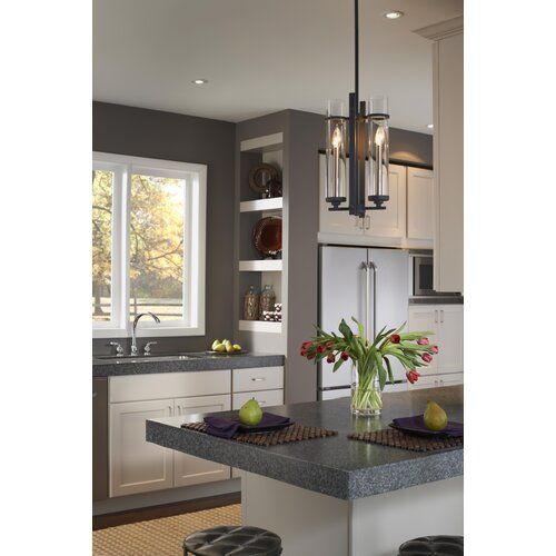 Feiss Ethan Eight Light Kitchen Island Pendant in Brushed Steel